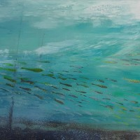 """Fish nr 32"",acrylic on canvas, 80 x 40 cm"